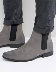Asos Chelsea Boots In Gray Faux Suede Gray