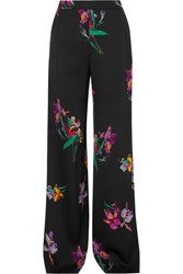 Etro Printed Satin Crepe Wide Leg Pants Black