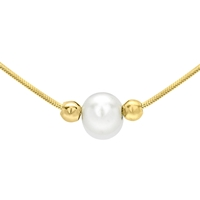Ibb 9Ct Gold Pearl Hexagonal Snake Chain Necklace Gold