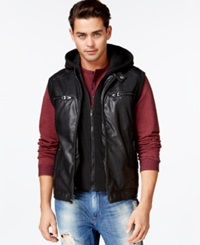 Guess Quilted Faux Leather Hooded Vest Jet Black