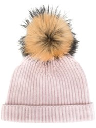N.Peal Cashmere Ribbed Beanie Pink