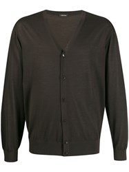 Z Zegna V Neck Cardigan Brown