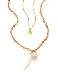 Chan Luu 10Mm White Baroque Pearl Opal And Bone Double Strand Pendant Necklace Gold Multi
