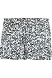 Stella Mccartney Sienna Giggling Printed Stretch Silk Pajama Shorts Gray