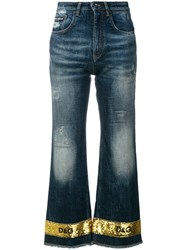 Dolce And Gabbana Sequin Trimmed Cropped Flare Jeans Cotton Spandex Elastane Polyester Blue
