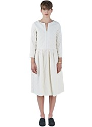 Renli Su Oversized Floral Embroidered Pleat Dress White