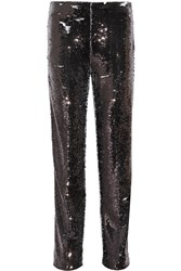 Msgm Sequined Crepe Straight Leg Pants Black