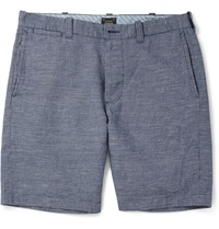 J.Crew 9' Stanton Checked Cotton And Linen Blend Shorts Blue