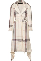 Roland Mouret Victor Draped Checked Crepe De Chine Trench Coat Ivory