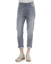 Brunello Cucinelli Button Fly Jeans W Rolled Cuffs Gray