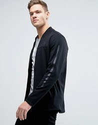 Jack And Jones Tech Longline Bomber Jacket In Jersey Black