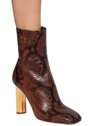 Dsquared 90Mm Leaf Python Print Leather Boots Brown