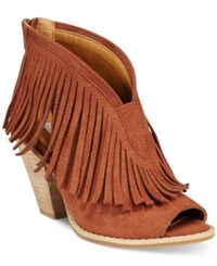 Dolce By Mojo Moxy Tabby Fringe Booties Women's Shoes Rust