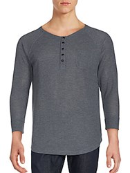 Joe's Jeans Long Sleeve Solid Henley Top Charcoal