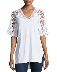 Xcvi Lace V Neck Tunic White