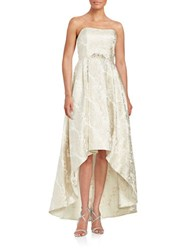 Betsy And Adam Jacquard Hi Lo Gown White Gold