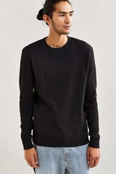 Urban Outfitters Uo Waffle Thermal Long Sleeve Tee Black