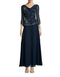 J Kara Three Quarter Sleeve Embellished Popover Gown Navy Mercury