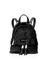 Michael Michael Kors Rhea Extra Small Zip Shearling Messenger Backpack Black Silver