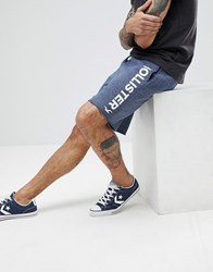 Hollister Large Logo Print Sweat Shorts In Navy Marl Navy Marl