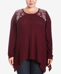 Eyeshadow Trendy Plus Size Embroidered Thermal Top Burgundy Passion
