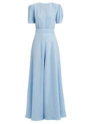 Vika Gazinskaya Round Neck Puff Sleeved Silk Gown Light Blue