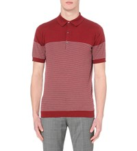 John Smedley Viking Knitted Polo Shirt Russet Red