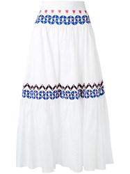 Temperley London Embroidered Full Skirt Women Cotton 8 White