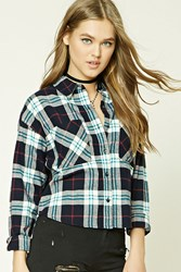 Forever 21 Tartan Plaid Flannel Shirt Navy Cream