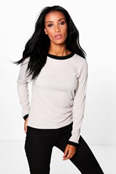 Boohoo Basic Rib Long Sleeve Ringer T Shirt Grey Marl