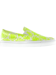 Christopher Kane Flower Print Slip Ons Yellow And Orange