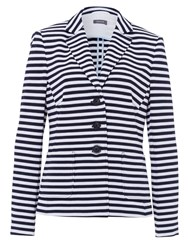 Basler 3 Button Navy And White Striped Blazer Multi Coloured