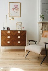 Anthropologie Geo Marquetry Three Drawer Dresser Brown