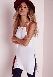 Missguided Ribbed Split Side Tunic White White