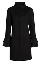 Trina Turk Sara Ruffle Cuff Wool Blend Coat Black