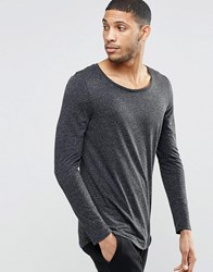Asos Linen Mix Longline Long Sleeve T Shirt With Scoop Neck And Curve Hem Black