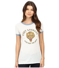 Obey Tiger Savages Sky Blue Stormy Sea Women's Clothing White
