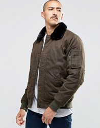 Carhartt Wip Stanley Bomber Jacket With Faux Fur Collar Khaki Green