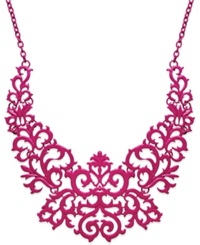 Bar Iii Lace Design Bib Necklace Pink