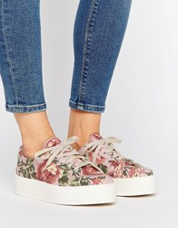 Asos Day Trip Flatform Canvas Trainers Floral Multi