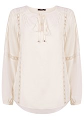 Oasis Viscose Peasant Blouse Off White