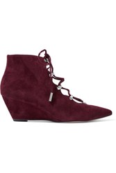Sigerson Morrison Wing Lace Up Suede Pumps Burgundy