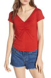 Socialite Cinch Front Tee Red
