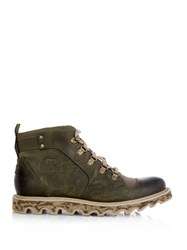 Sorel Mad Ii Leather And Canvas Ankle Boots
