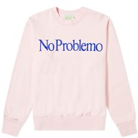 Aries No Problemo Flocked Crew Sweat Pink