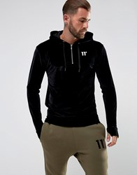 11 Degrees Hoodie With Half Zip In Black Velour