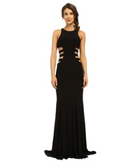 Faviana Jersey Gown W Side Cut Outs 7820 Black Women's Dress