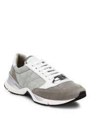 Brunello Cucinelli Monili Beaded Suede And Leather Sneakers Grey