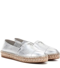 Prada Leather Espadrilles Silver