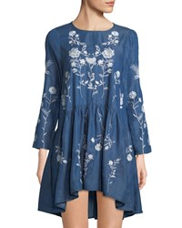 Haute Rogue Embroidered Chambray Swing Dress Denim